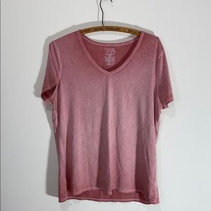 XL Time and Tru Distressed V-Neck Tee